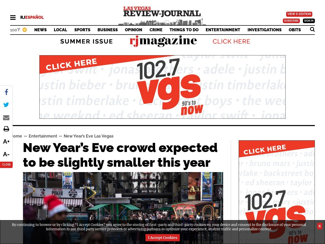 New Year's Eve crowd expected to be slightly smaller this year