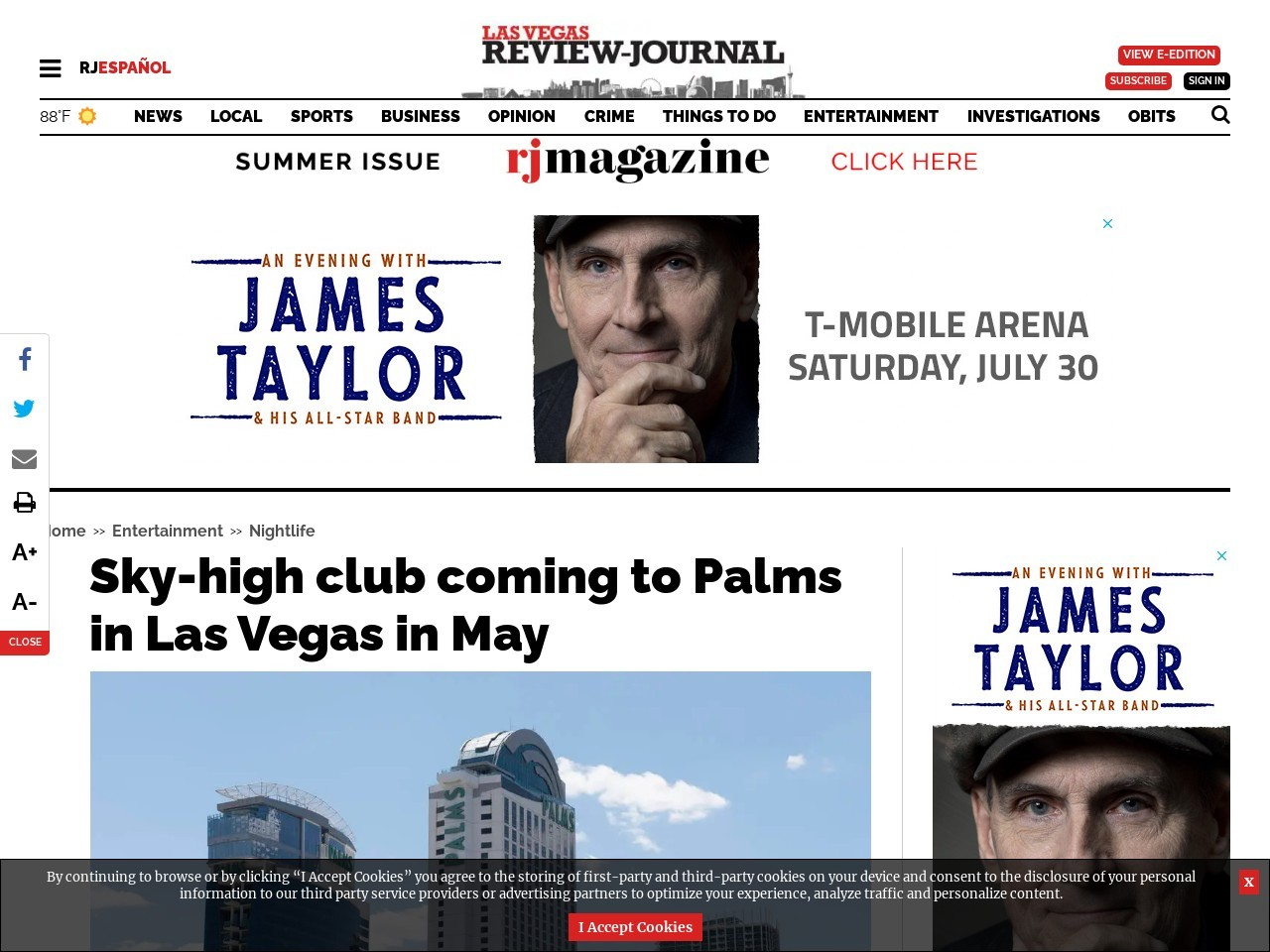 Sky-high club coming to Palms in Las Vegas in May