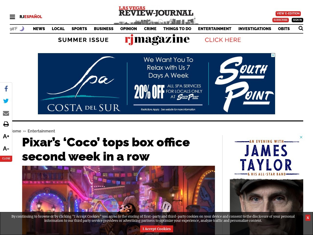 Pixar's 'Coco' tops box office second week in a row