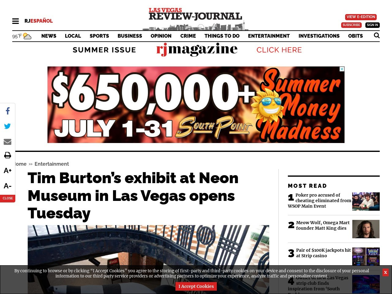 Tim Burton's exhibit at Neon Museum in Las Vegas opens Tuesday