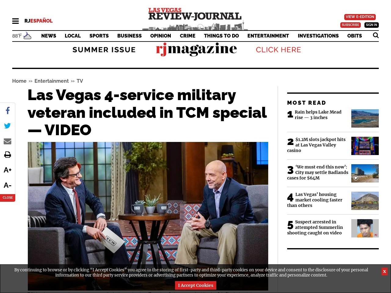 Las Vegas 4-service military veteran included in TCM special — VIDEO