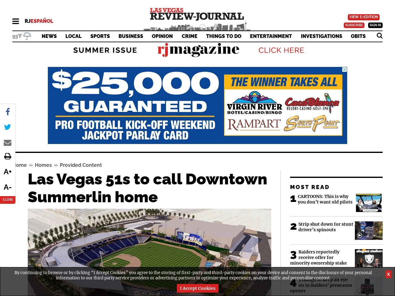 Las Vegas 51s to call Downtown Summerlin home