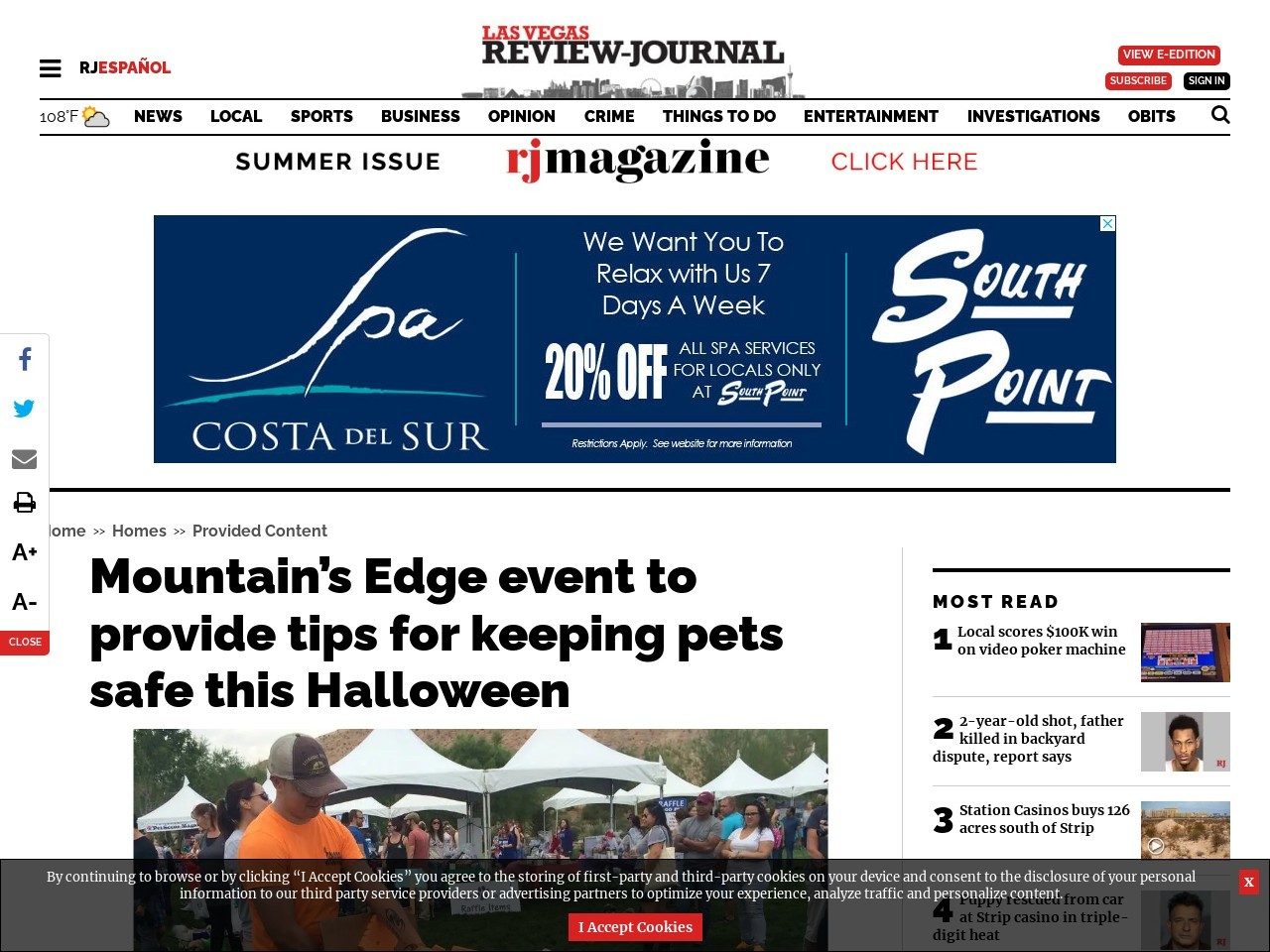 Mountain's Edge event to provide tips for keeping pets safe this Halloween