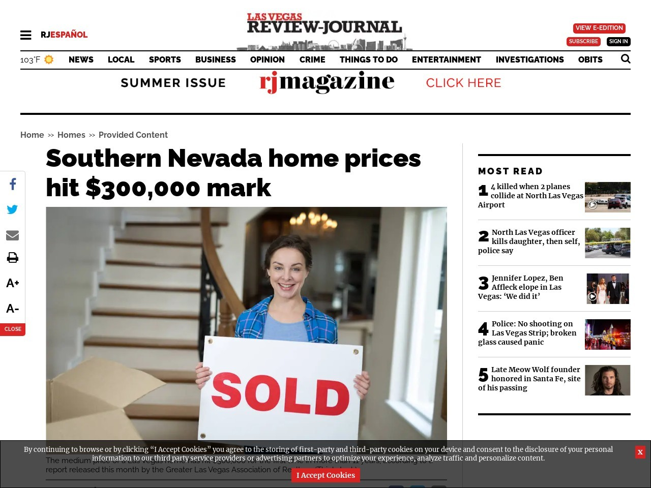 Southern Nevada home prices hit $300,000 mark