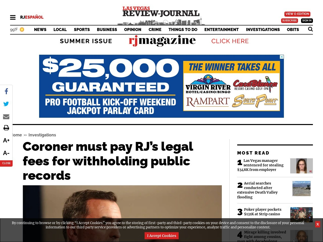 Coroner must pay RJ's legal fees for withholding public records