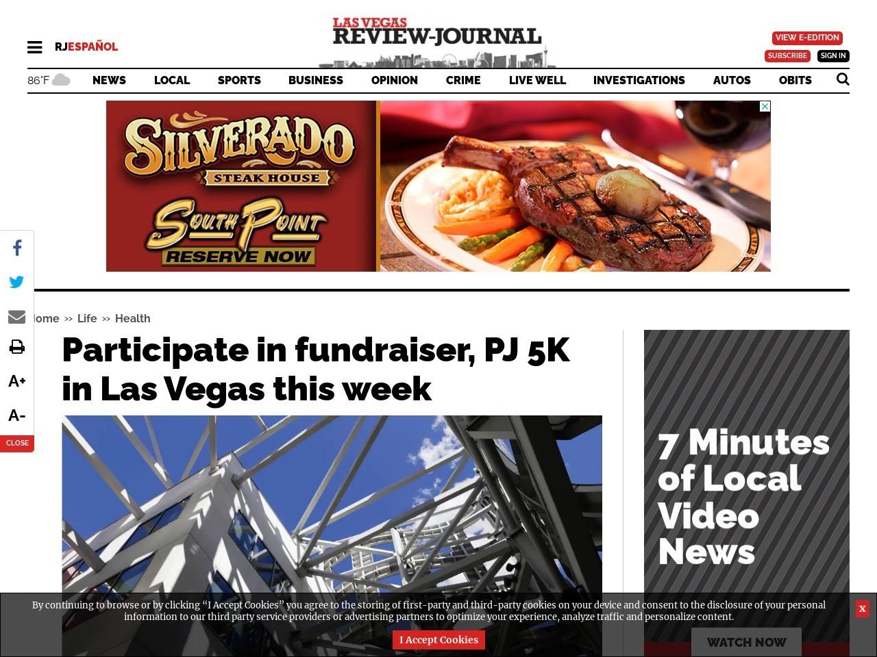 Participate in fundraiser, PJ 5K in Las Vegas this week