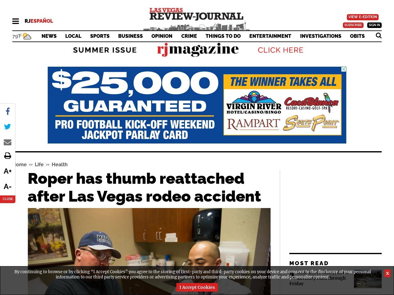 Roper has thumb reattached after Las Vegas rodeo accident