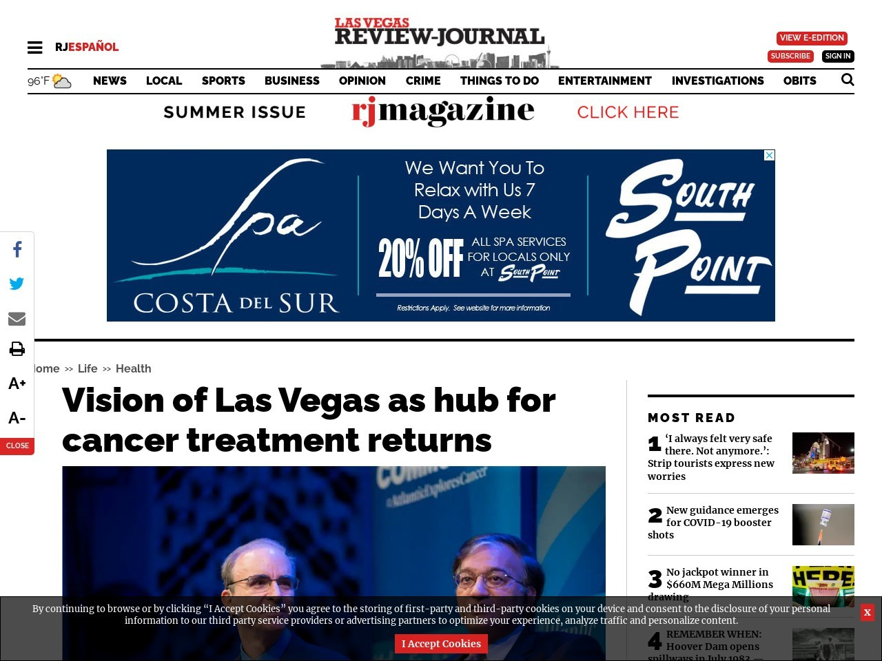Vision of Las Vegas as hub for cancer treatment returns