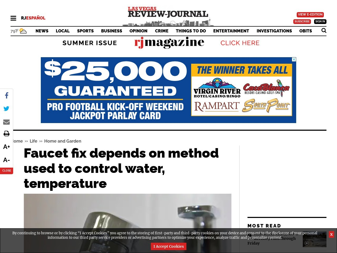 Faucet fix depends on method used to control water, temperature