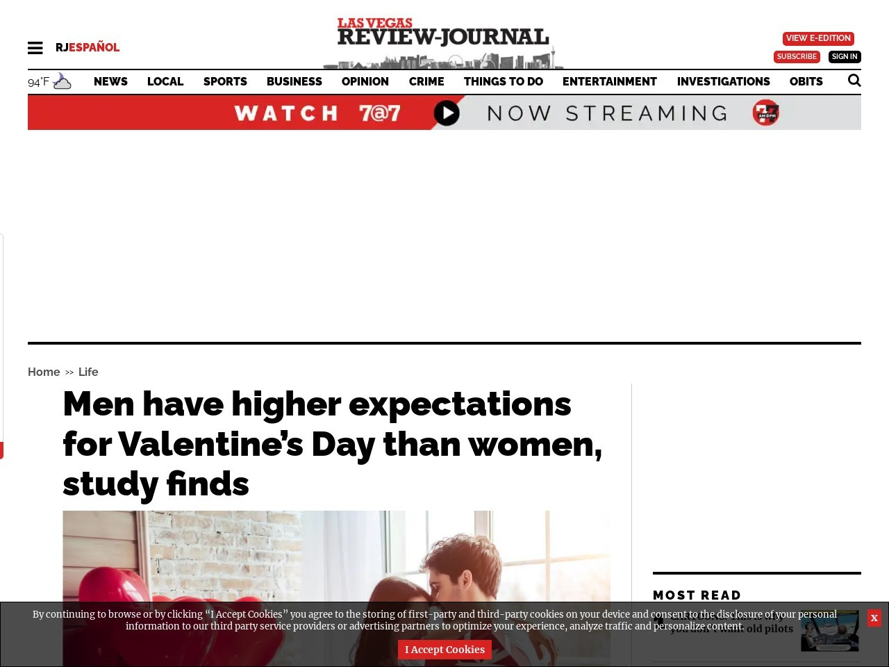 Men have higher expectations for Valentine's Day than women, study finds