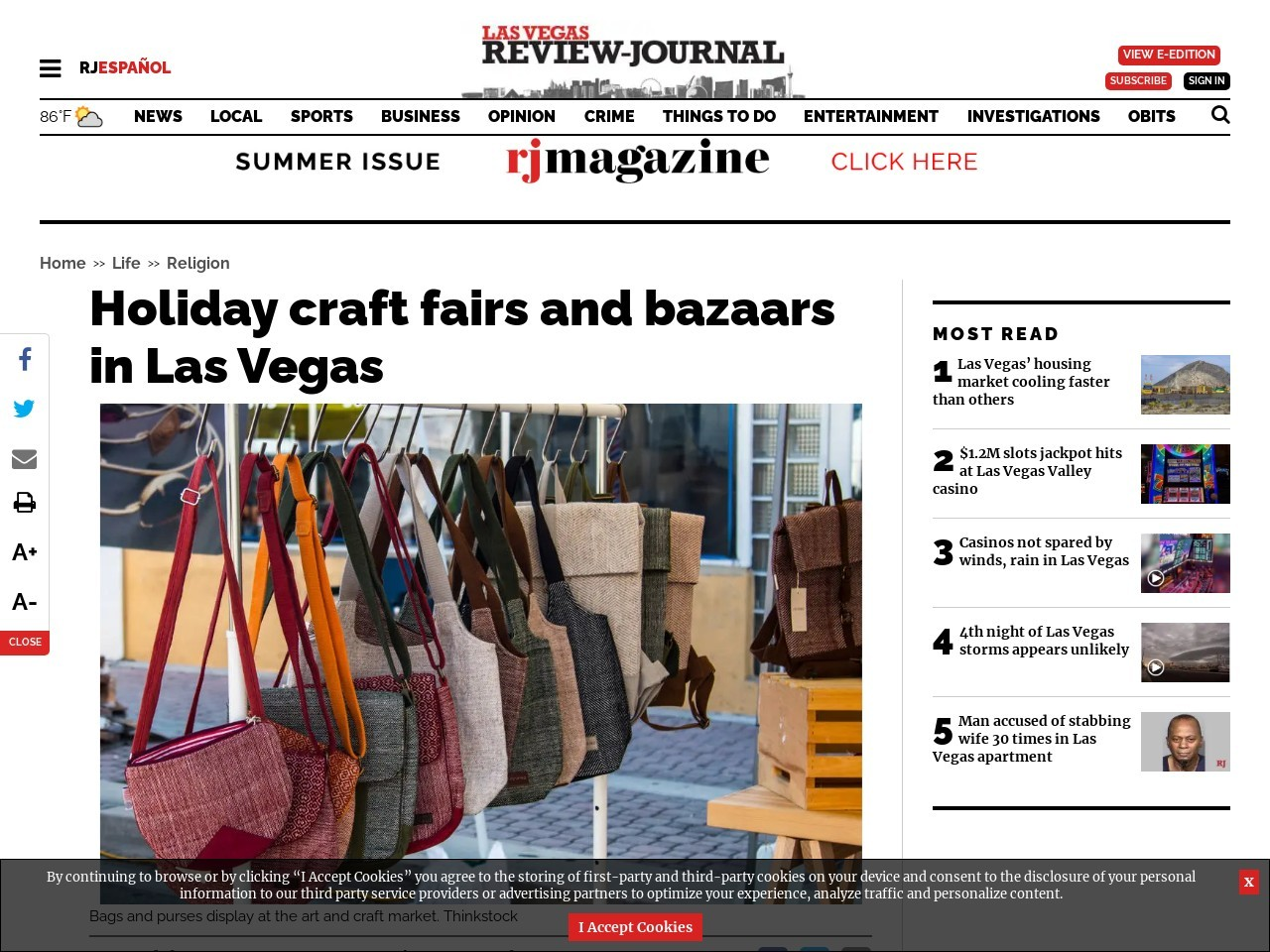 Holiday craft fairs and bazaars in Las Vegas