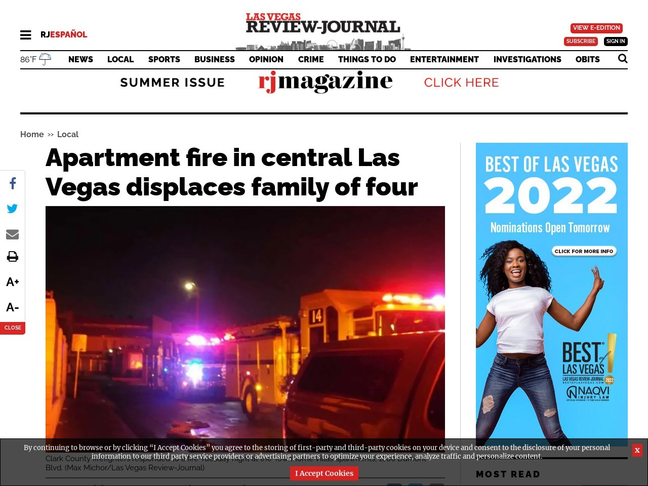 Apartment fire in central Las Vegas displaces family of four