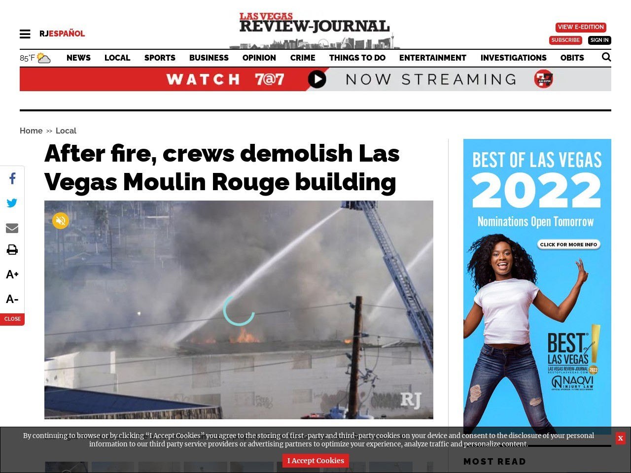 Crews battle blaze at vacant Moulin Rouge in downtown Las Vegas