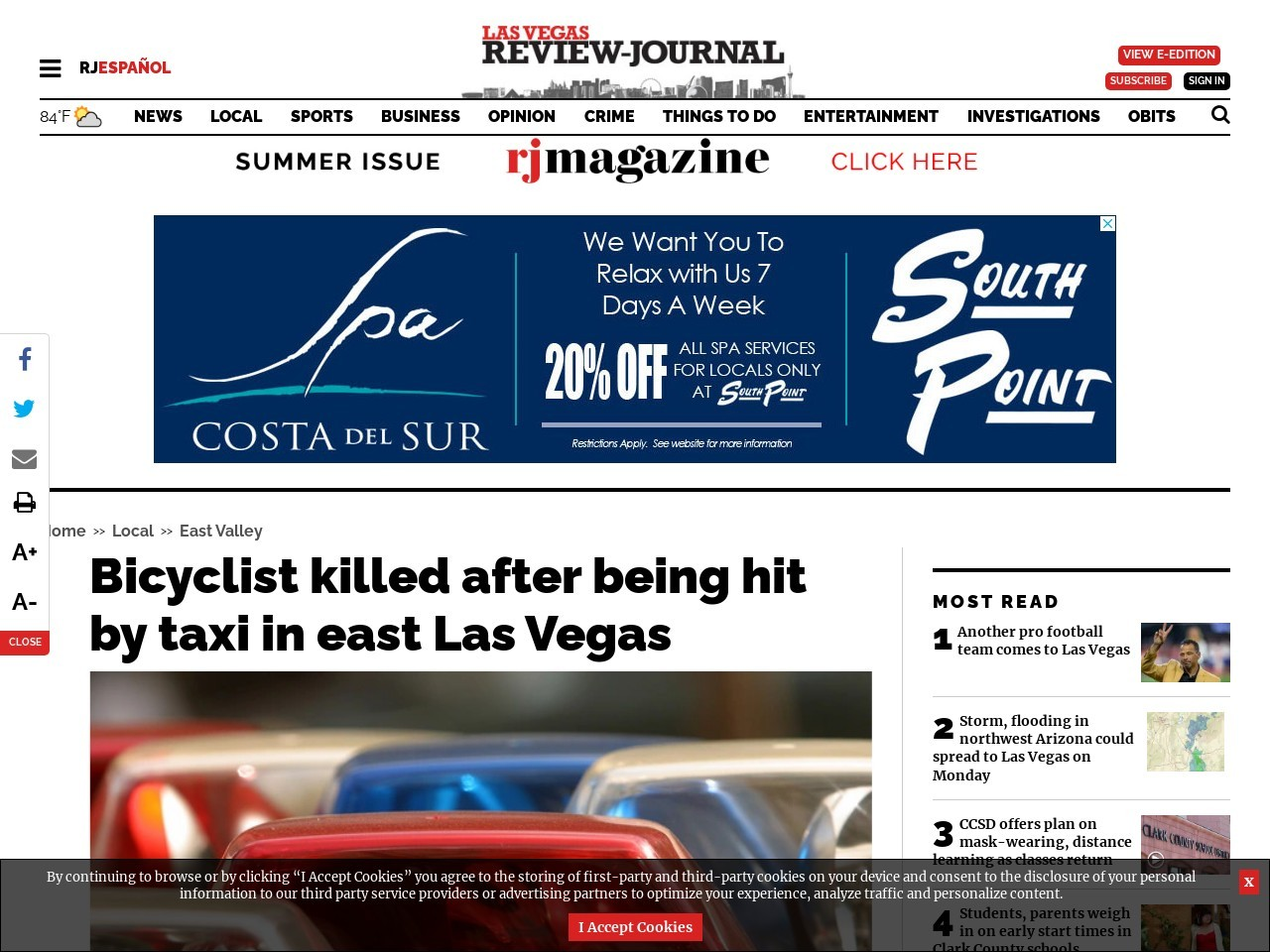 Bicyclist killed after being hit by taxi in east Las Vegas