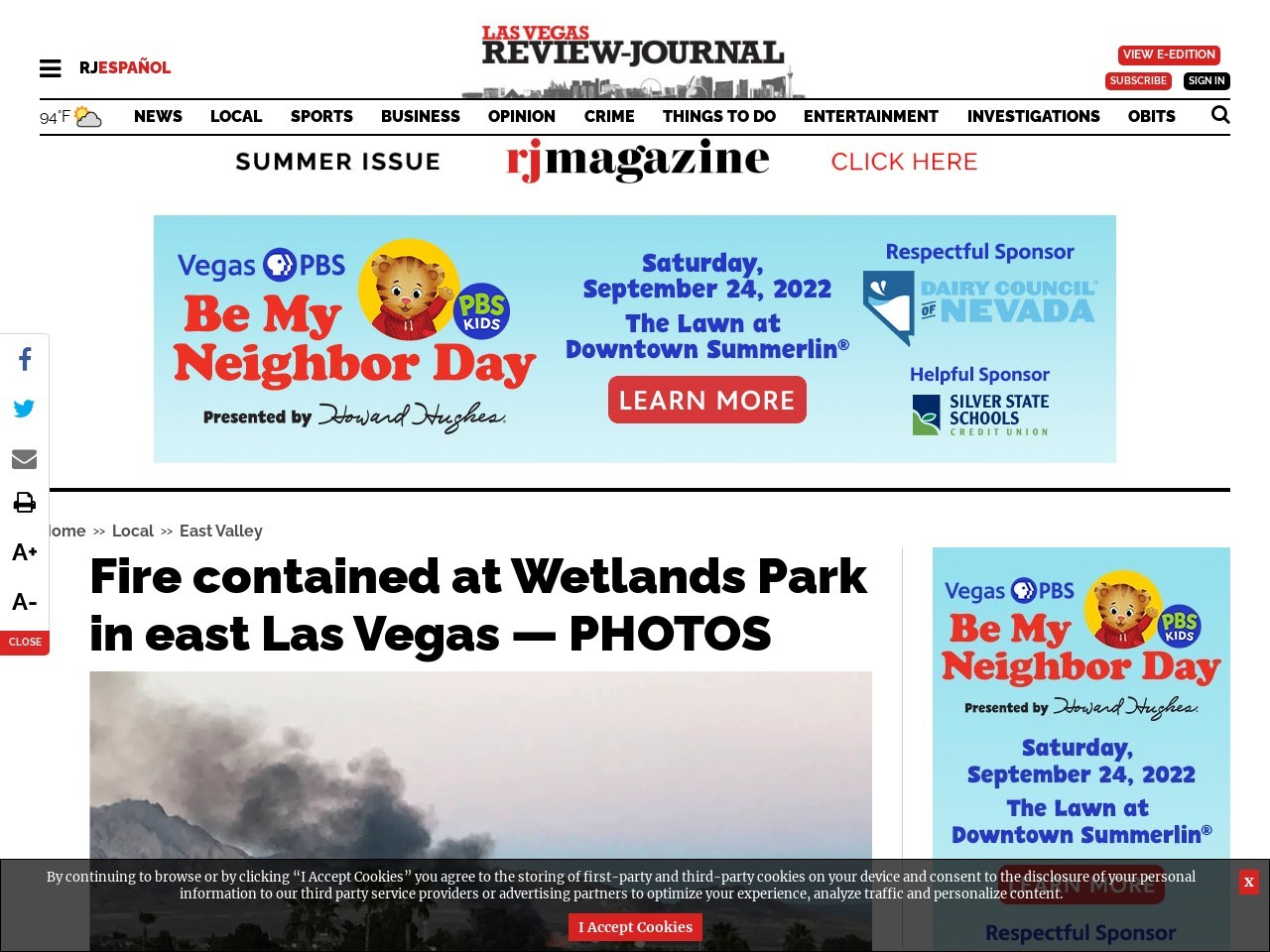 Fire at Wetlands Park in east Las Vegas contained — PHOTOS