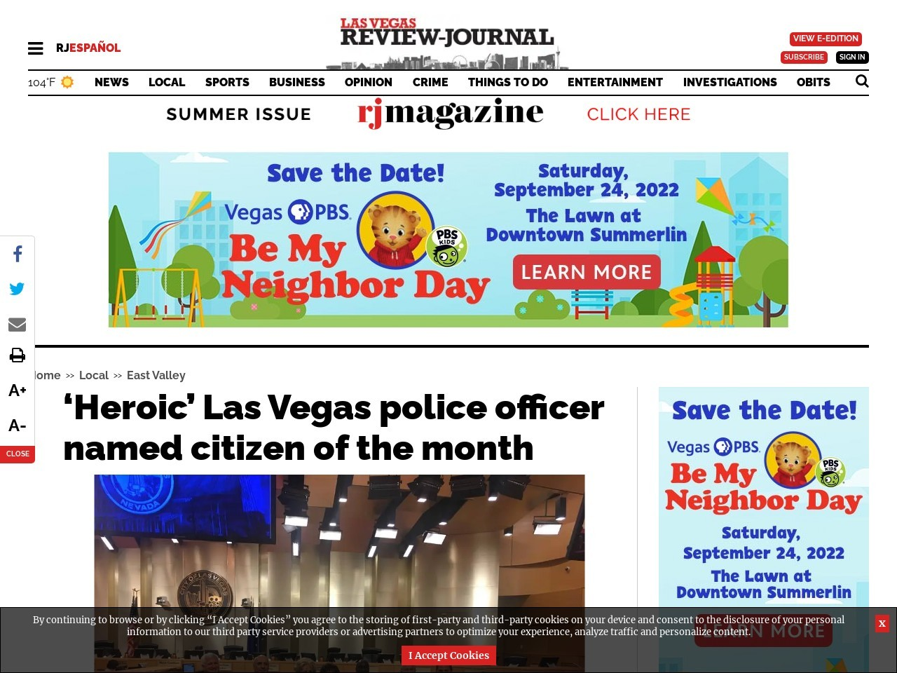 'Heroic' Las Vegas police officer named citizen of the month