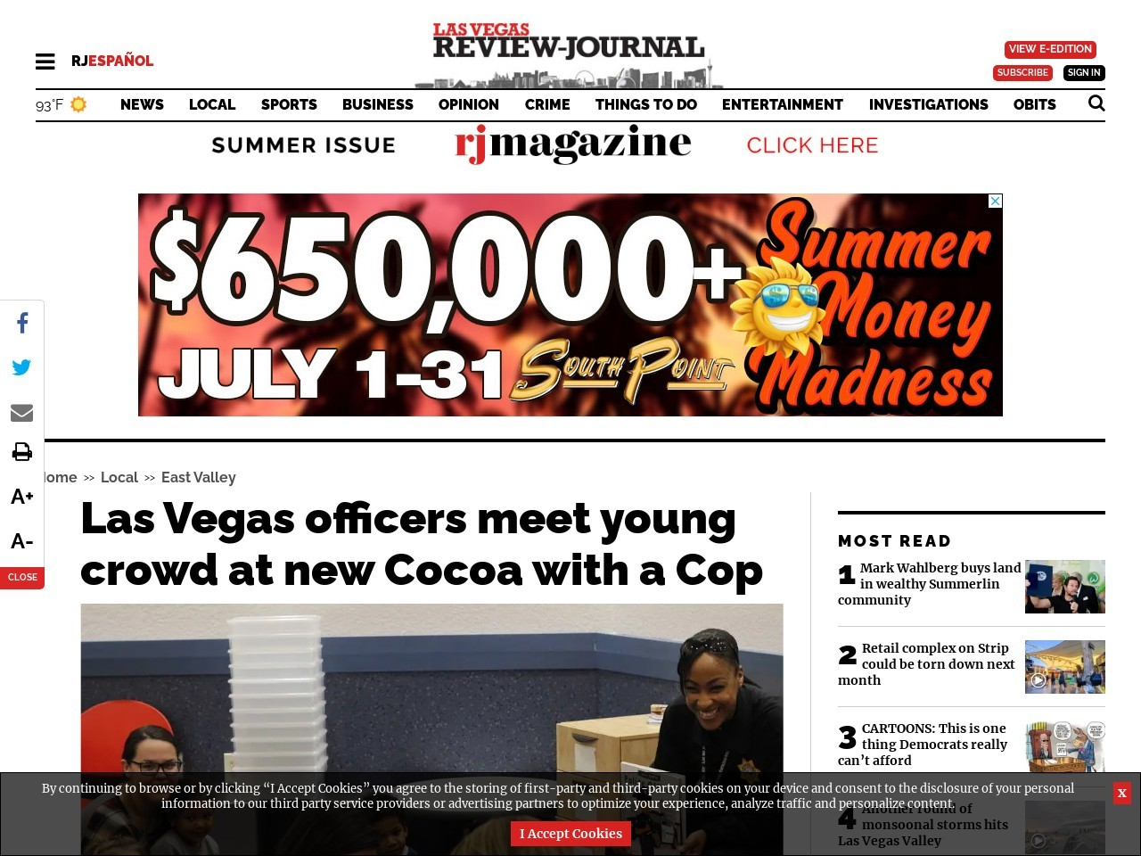 Las Vegas officers meet young crowd at new Cocoa with a Cop