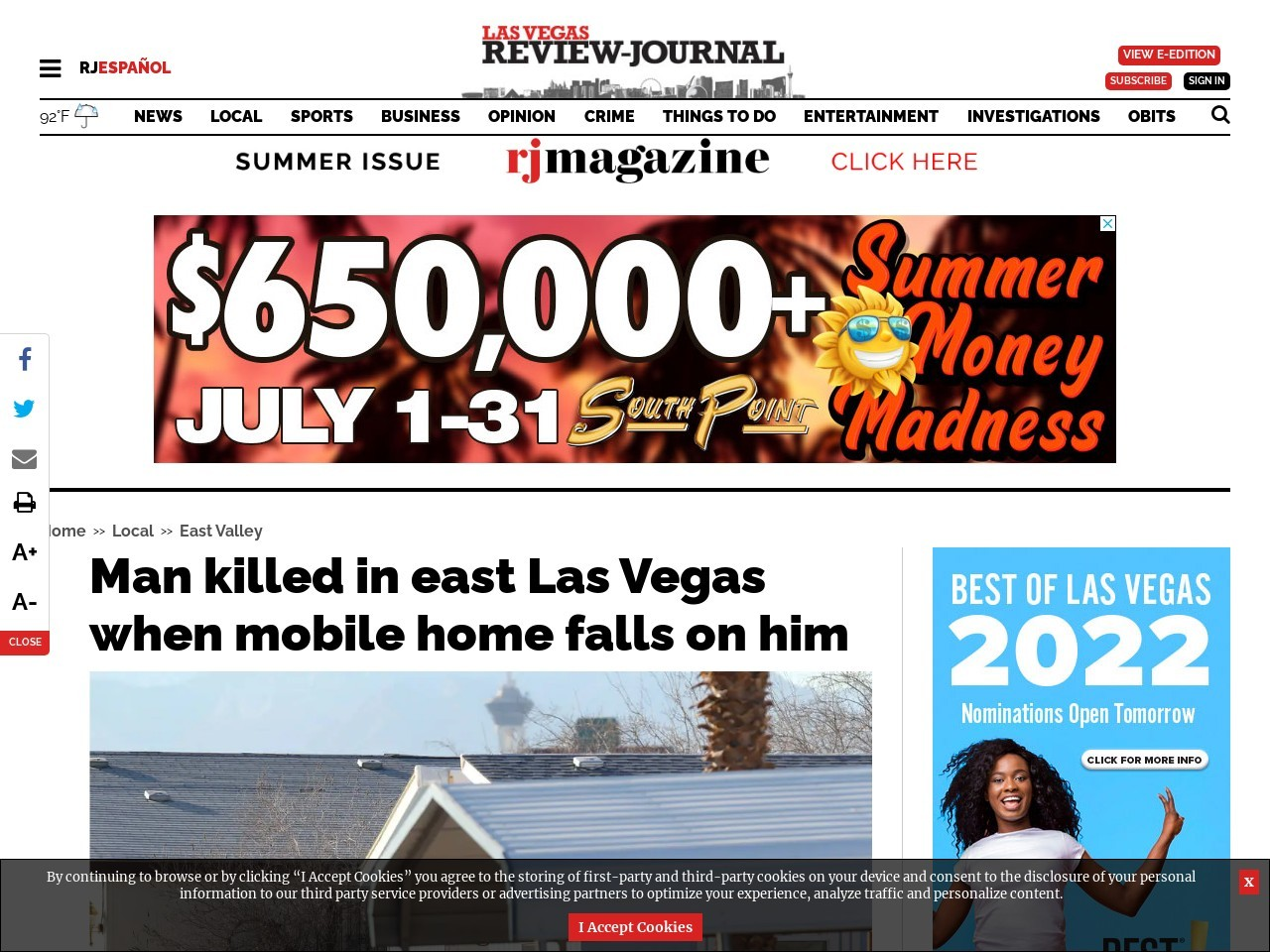 Man killed in east Las Vegas when mobile home falls on him