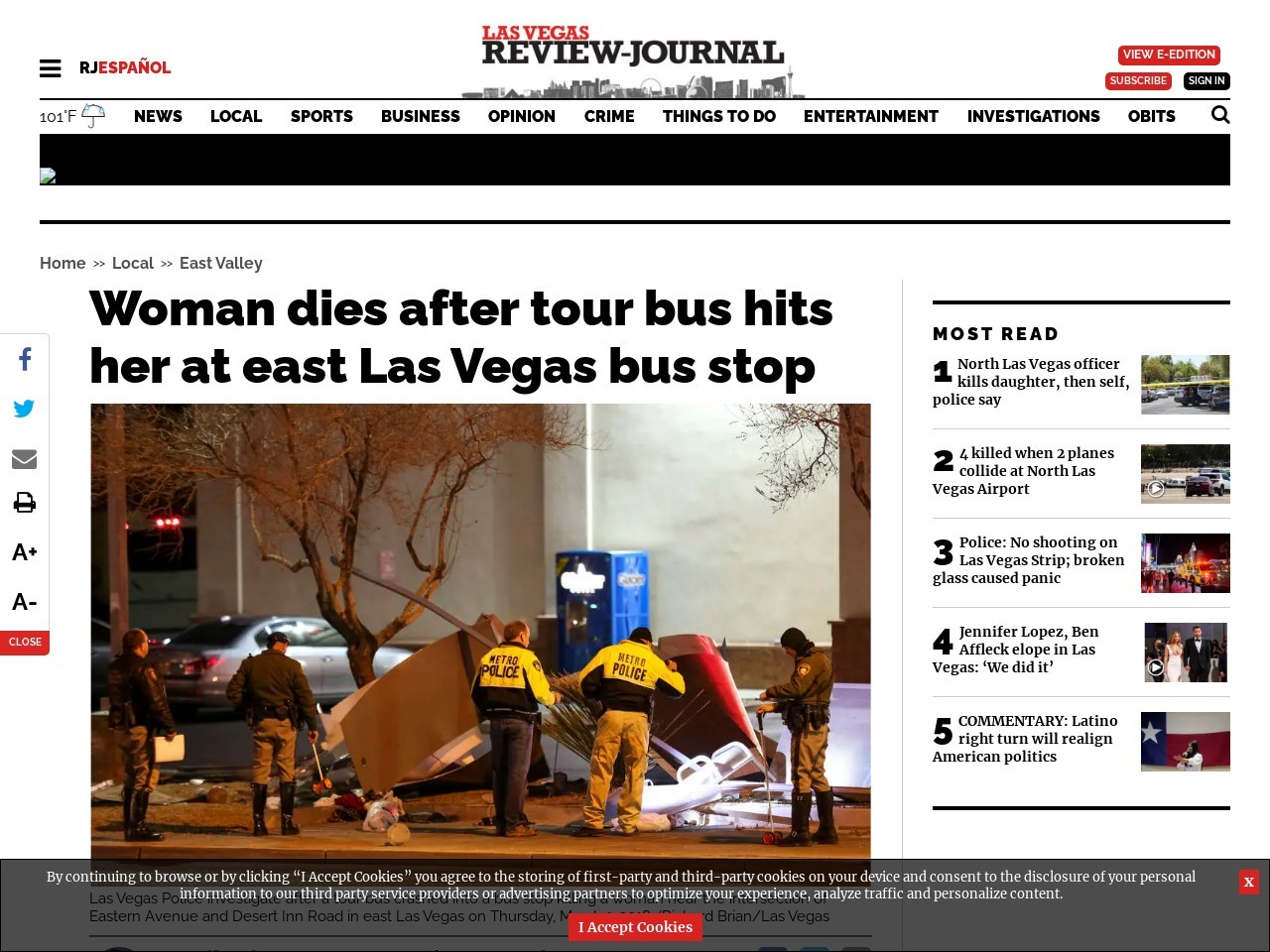 Woman dies after tour bus hits her at east Las Vegas bus stop