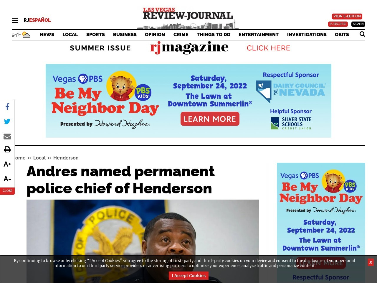 Andres named permanent police chief of Henderson