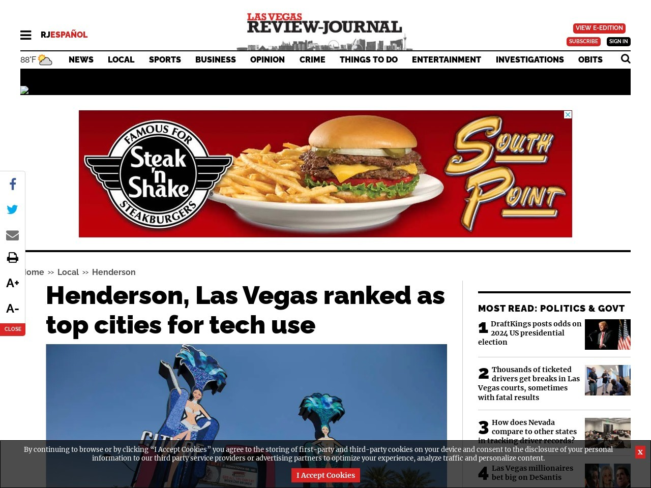 Henderson, Las Vegas ranked as top cities for tech use
