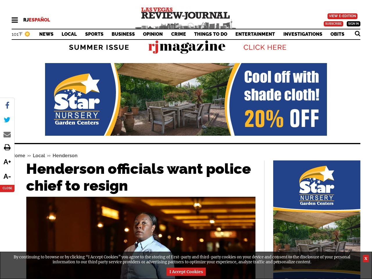Henderson officials want police chief to resign