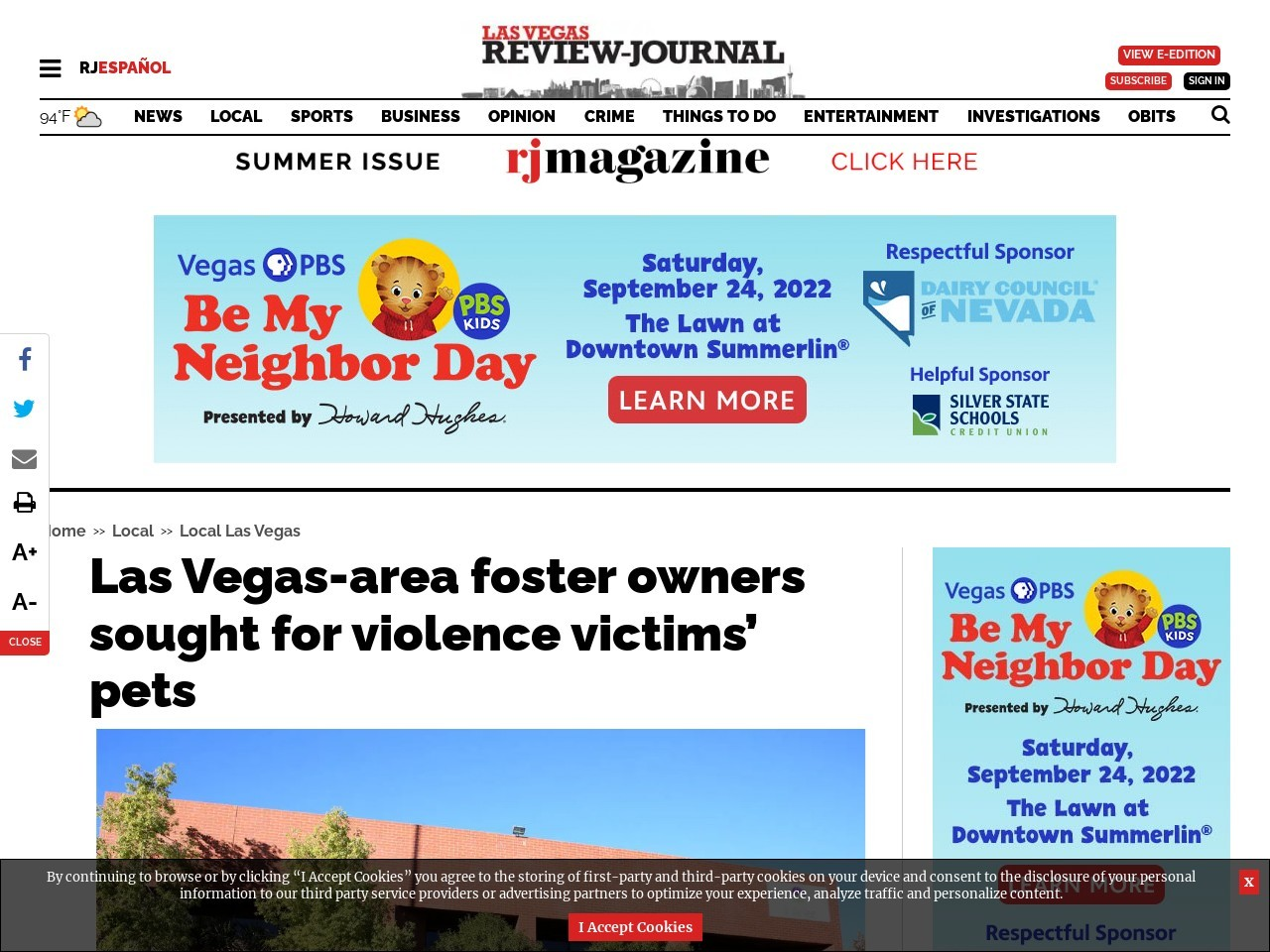 Las Vegas-area foster owners sought for violence victims' pets