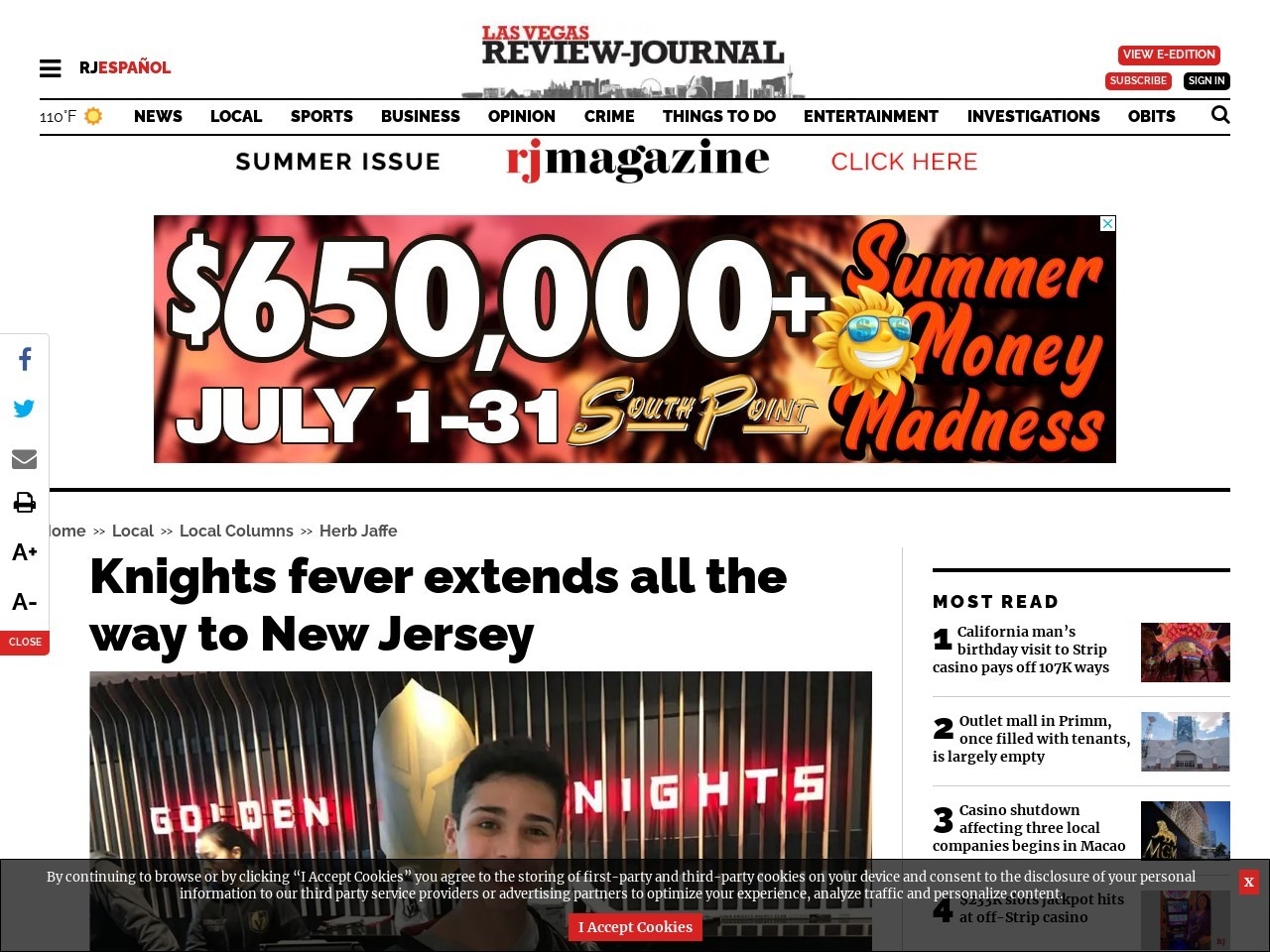 Herb Jaffe: Knights fever extends all the way to New Jersey