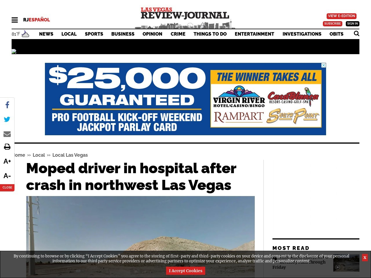 1 airlifted after motorcycle crash in northwest Las Vegas Valley