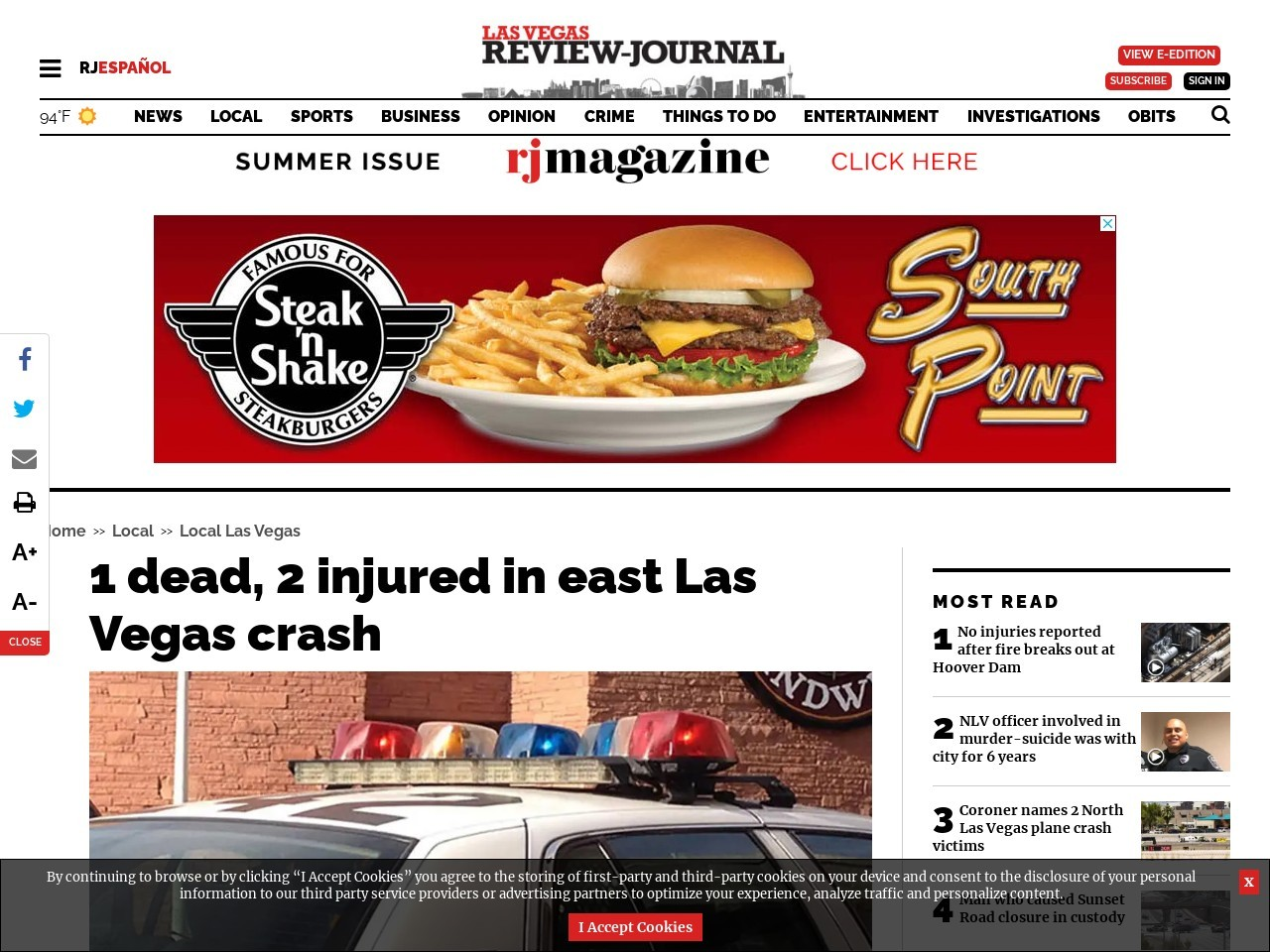 1 dead in east Las Vegas crash, police say