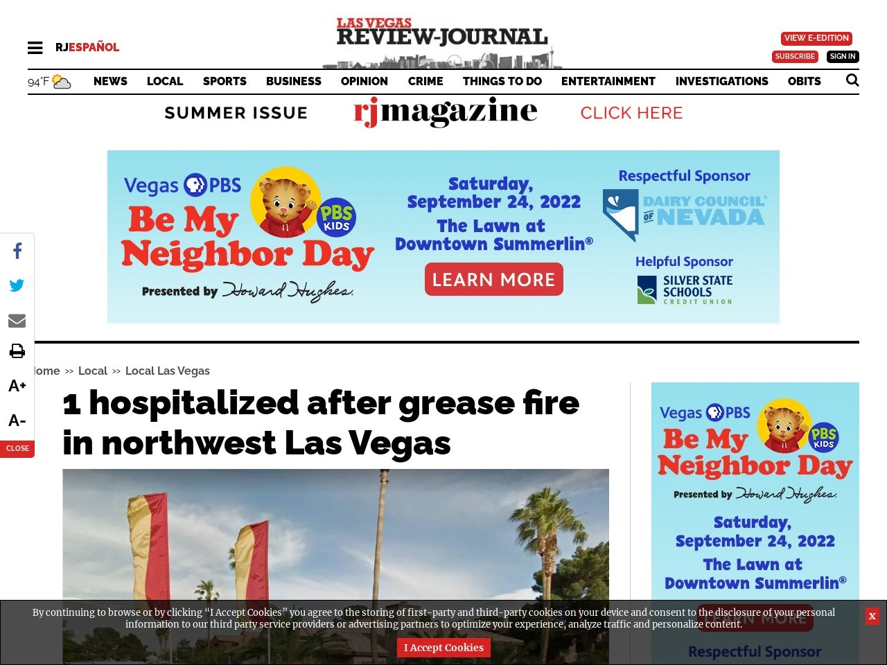 1 hospitalized after grease fire in northwest Las Vegas