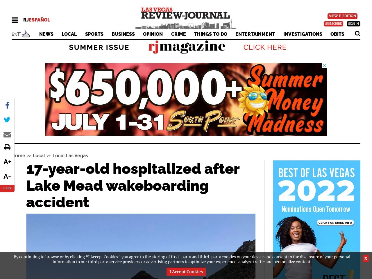17-year-old hospitalized after Lake Mead wakeboarding accident