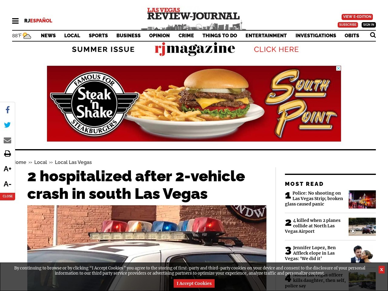 2 hospitalized after 2-vehicle crash in south Las Vegas