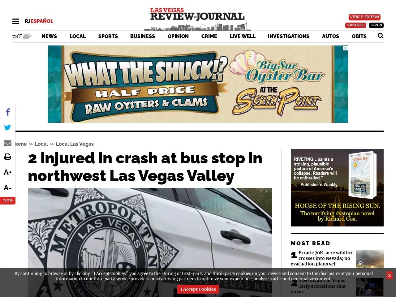2 injured in crash at bus stop in northwest Las Vegas Valley