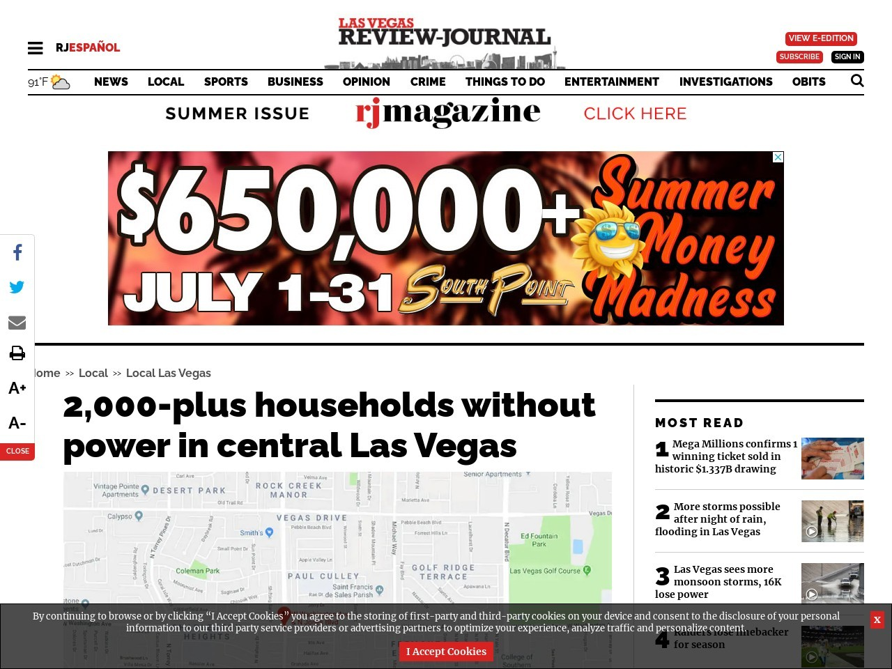 2,000-plus households without power in central Las Vegas