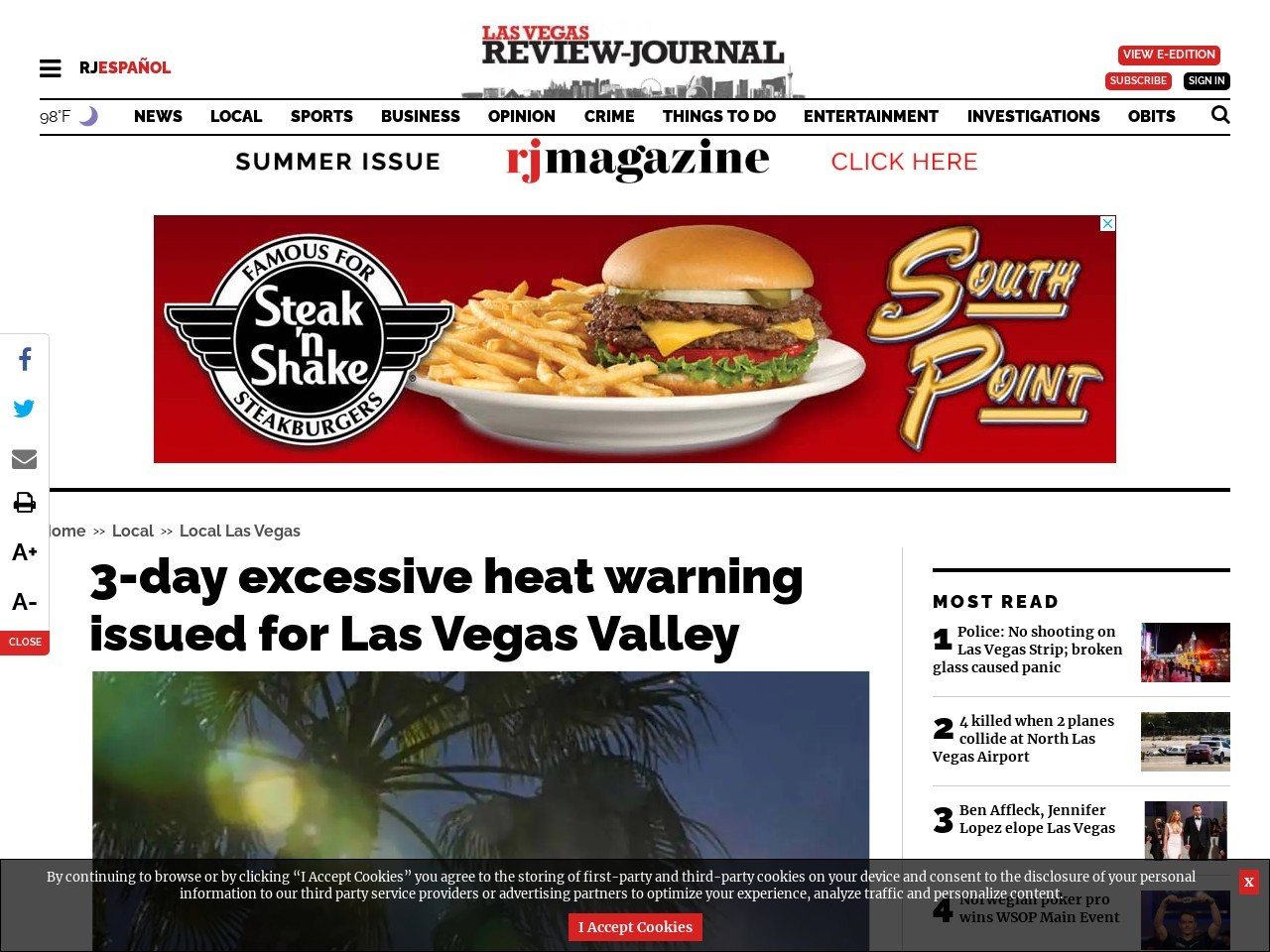 3-day excessive heat warning issued for Las Vegas Valley