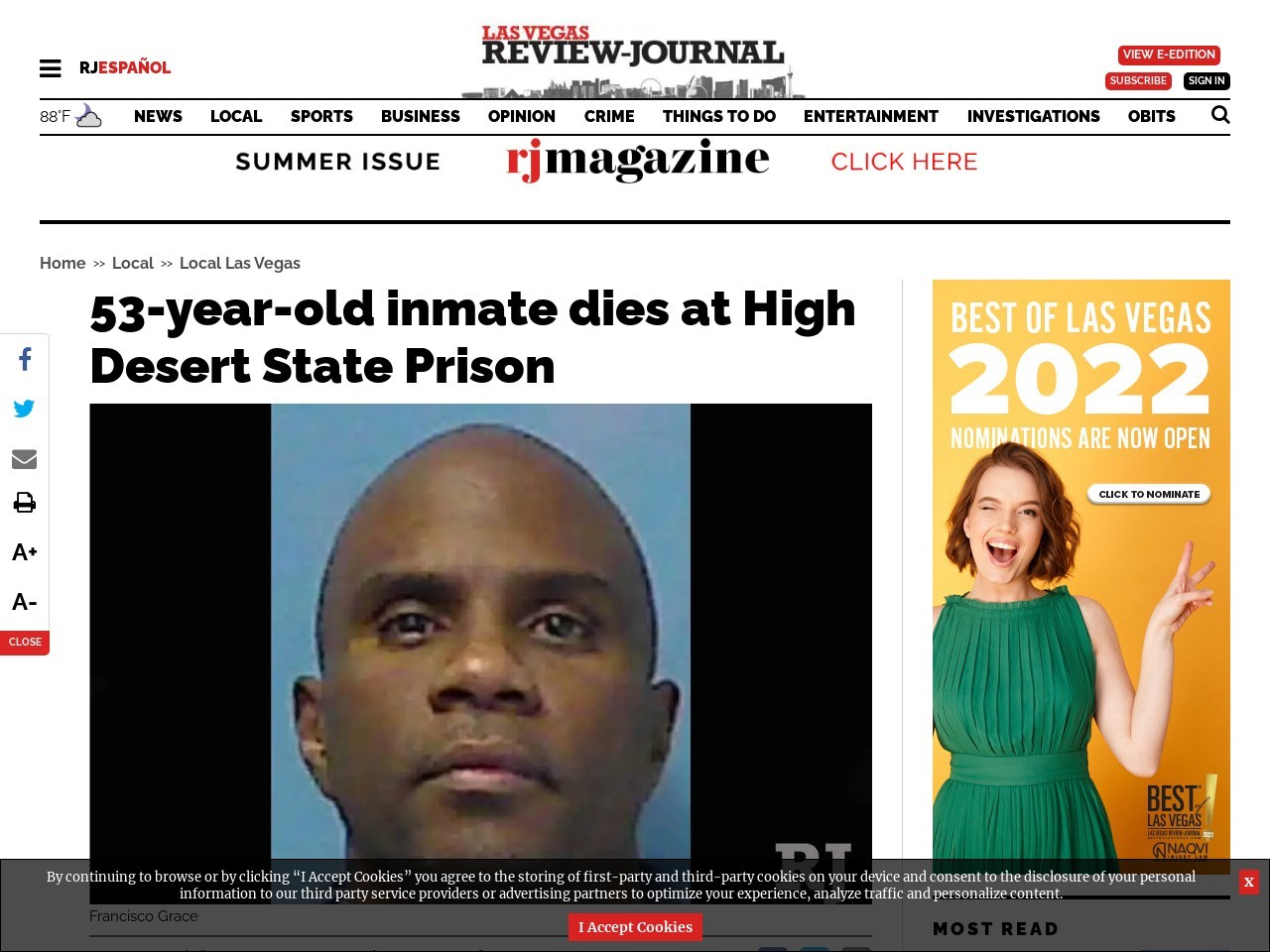 53-year-old inmate dies at High Desert State Prison