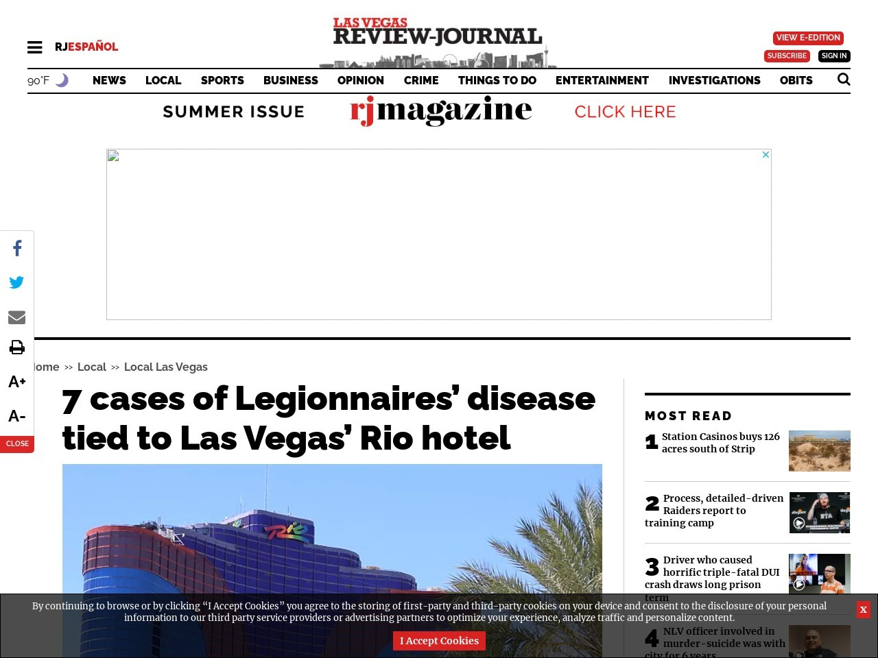 7 cases of Legionnaires' disease tied to Las Vegas' Rio hotel
