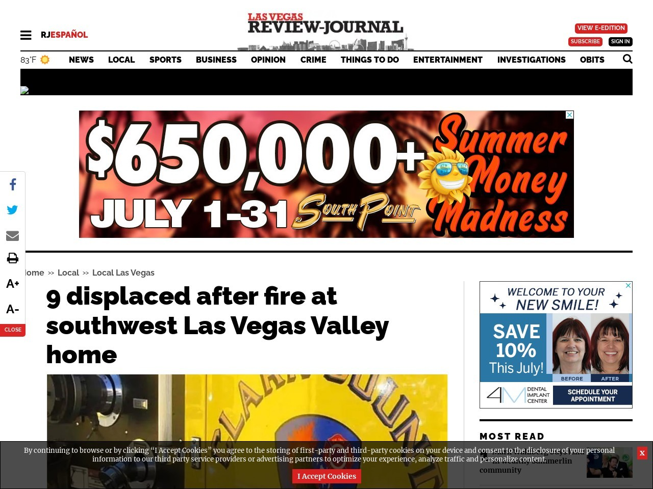 9 displaced after fire at southwest Las Vegas Valley home