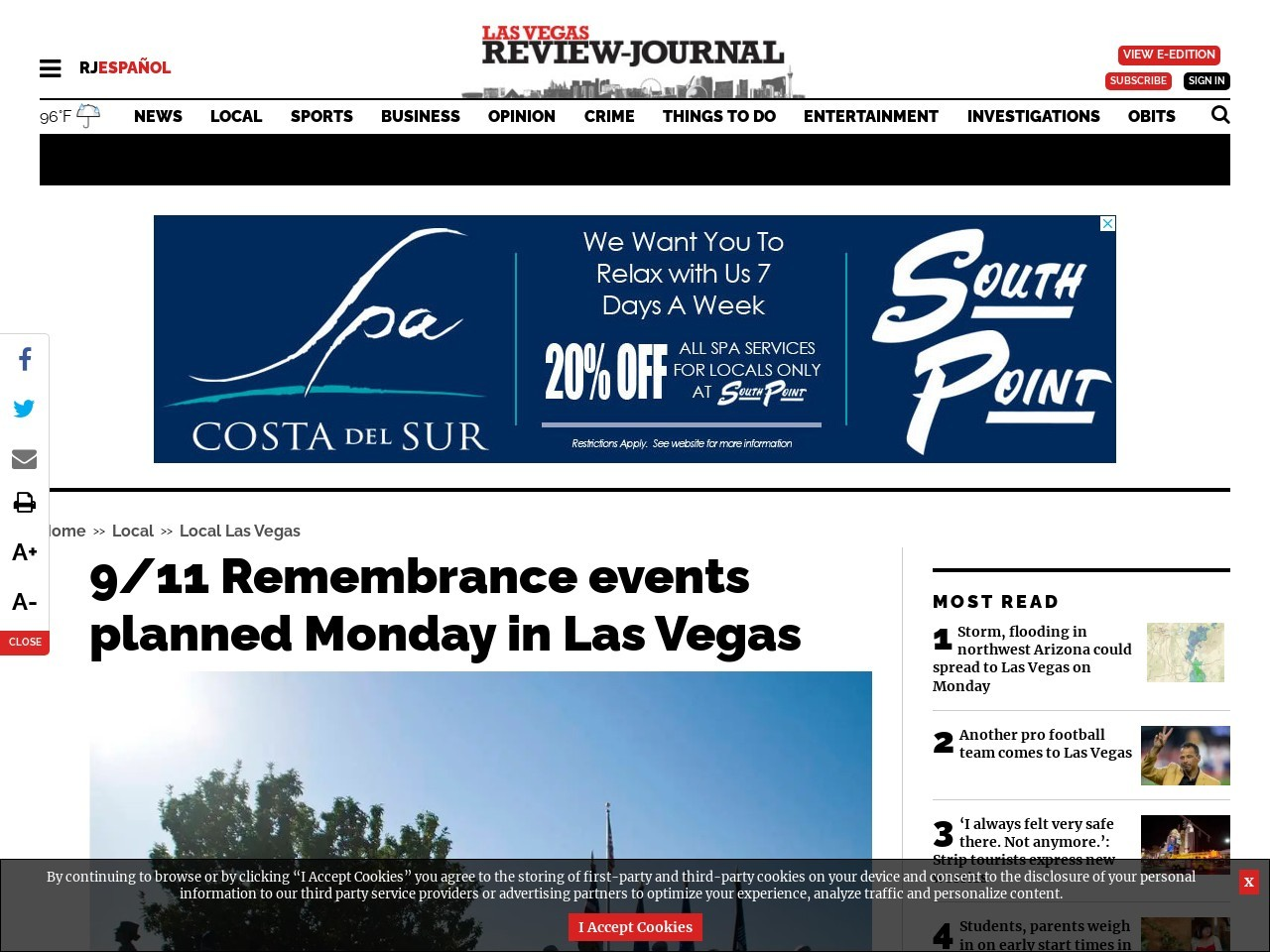 9/11 Remembrance events planned Monday in Las Vegas
