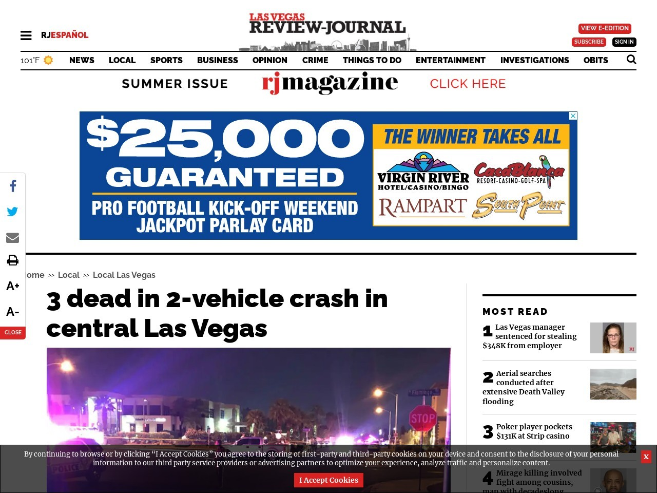At least 2 dead in 2-vehicle crash in central Las Vegas