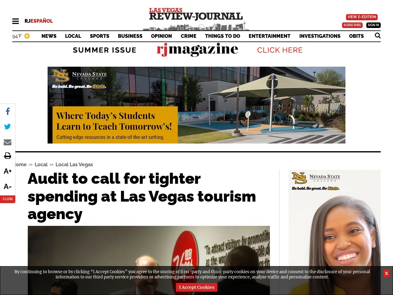 Audit to call for tighter spending at Las Vegas tourism agency