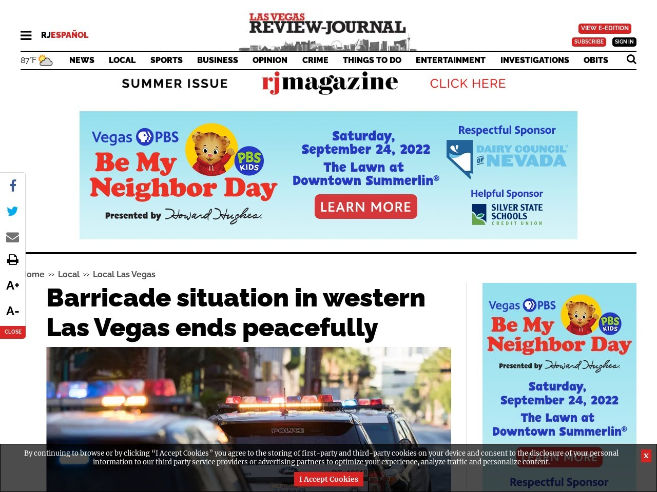 Barricade situation in western Las Vegas ends peacefully