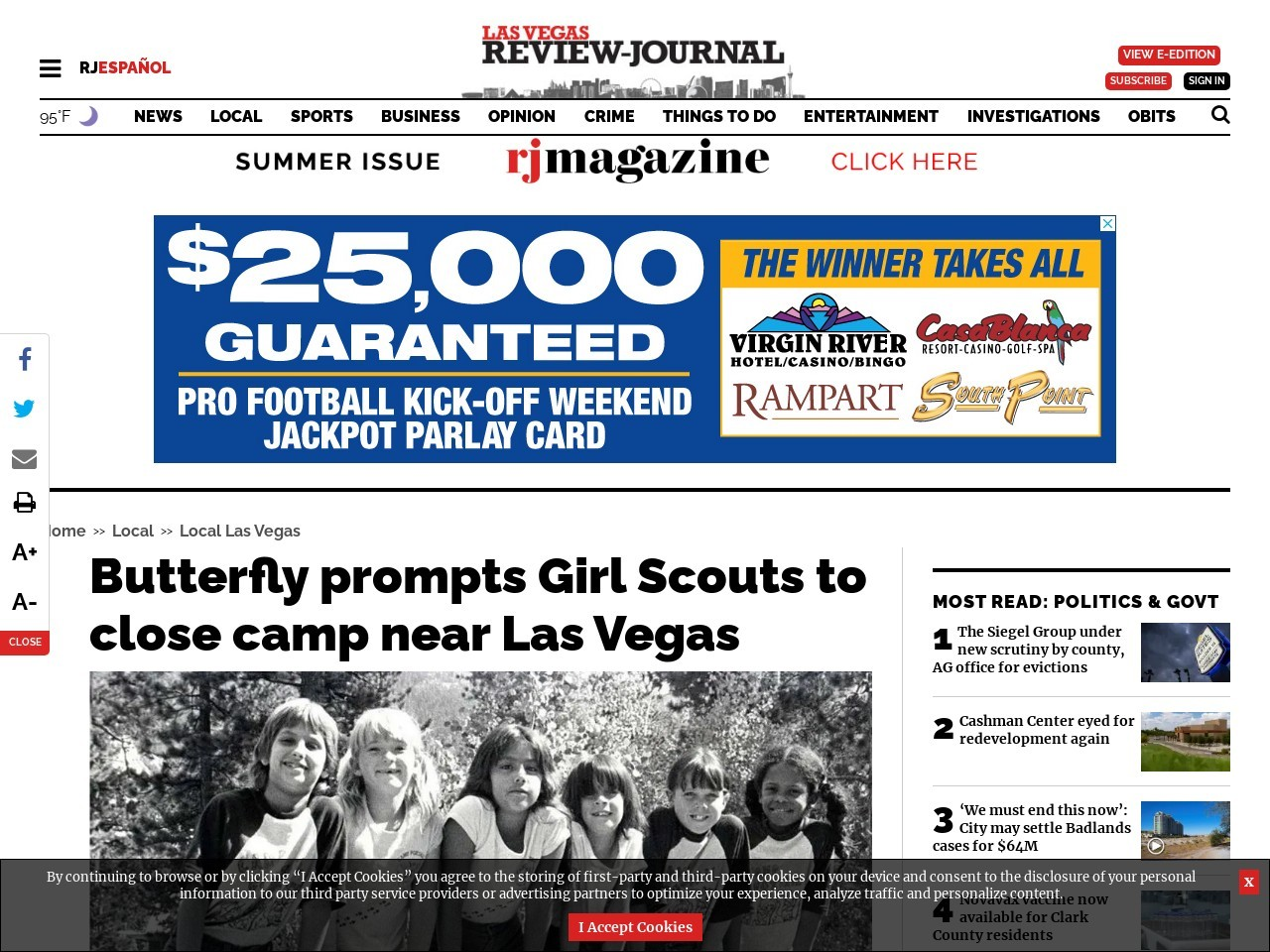Butterfly prompts Girl Scouts to close camp near Las Vegas