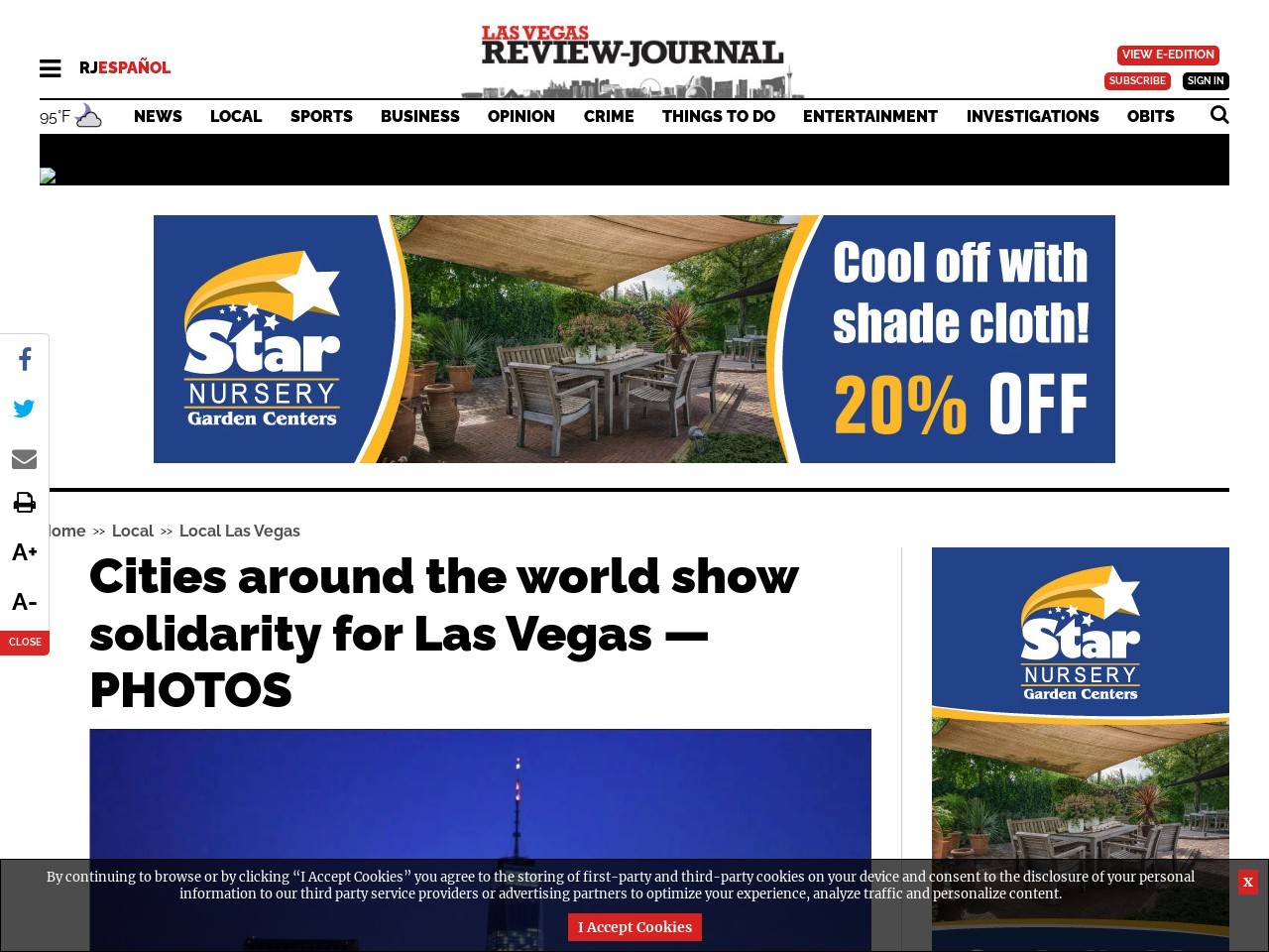 Cities around the world show solidarity for Las Vegas — PHOTOS