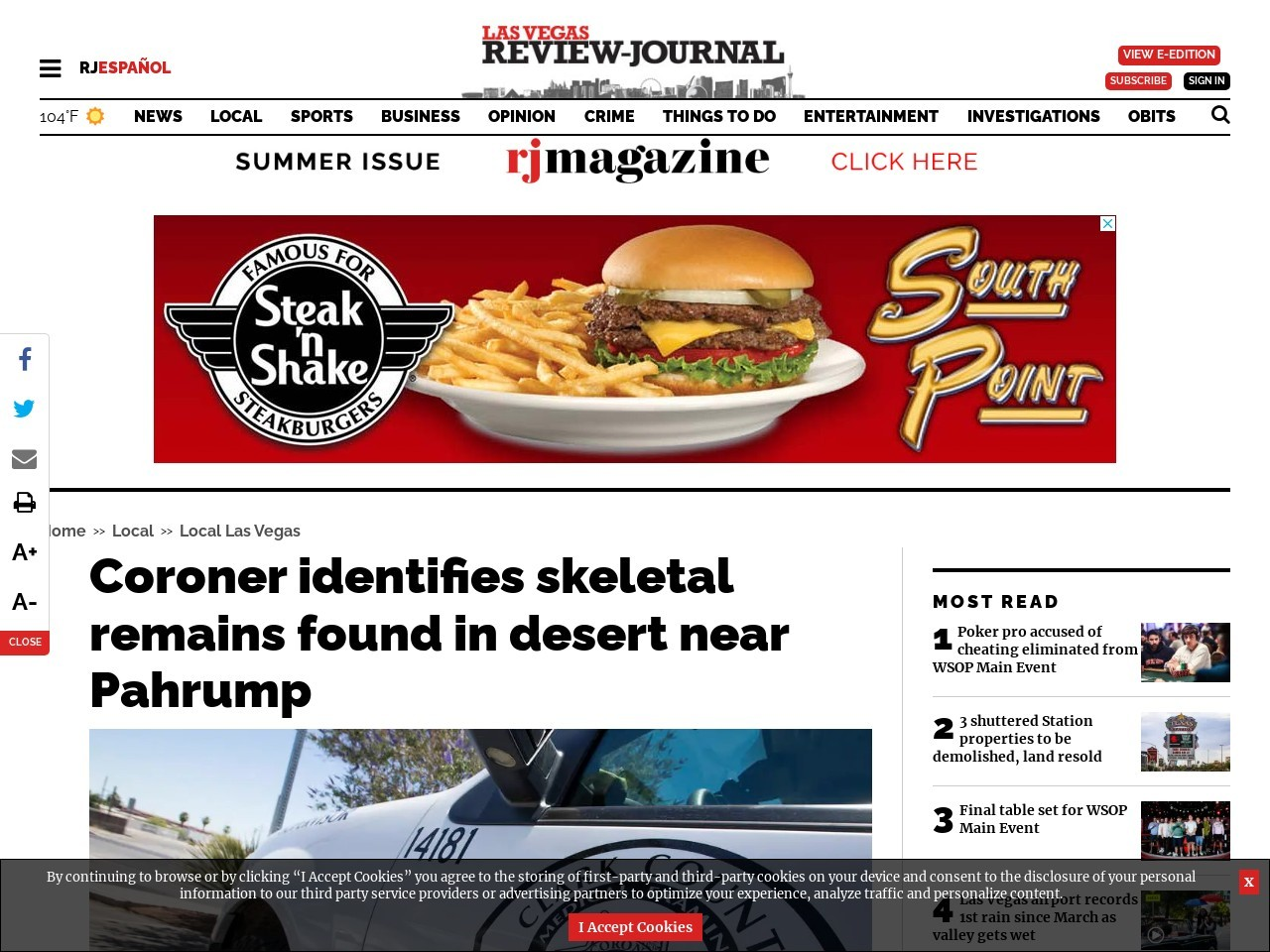 Coroner identifies skeletal remains found in desert near Pahrump