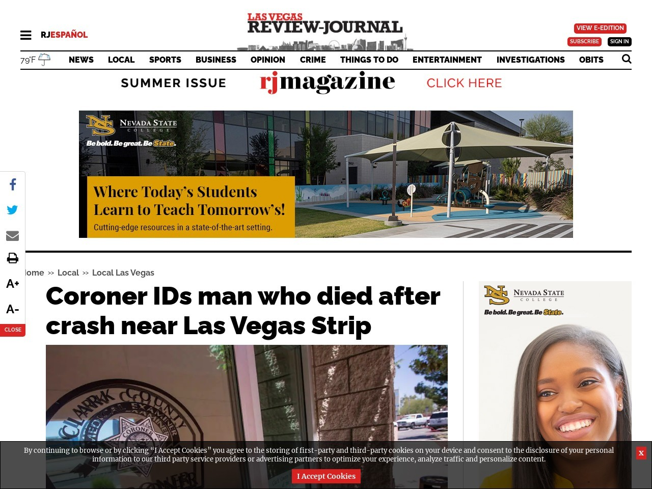 Coroner IDs man who died after crash near Las Vegas Strip