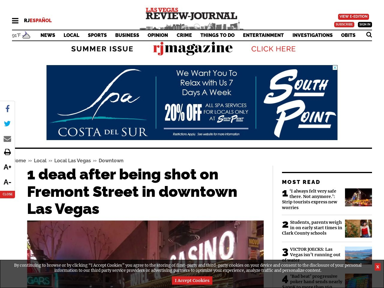 1 dead after being shot on Fremont Street in downtown Las Vegas