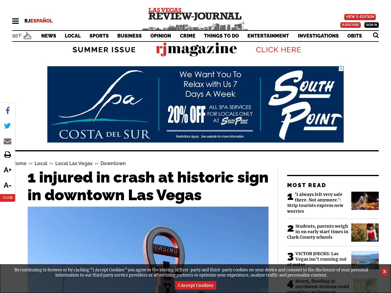 1 injured in crash at historic sign in downtown Las Vegas