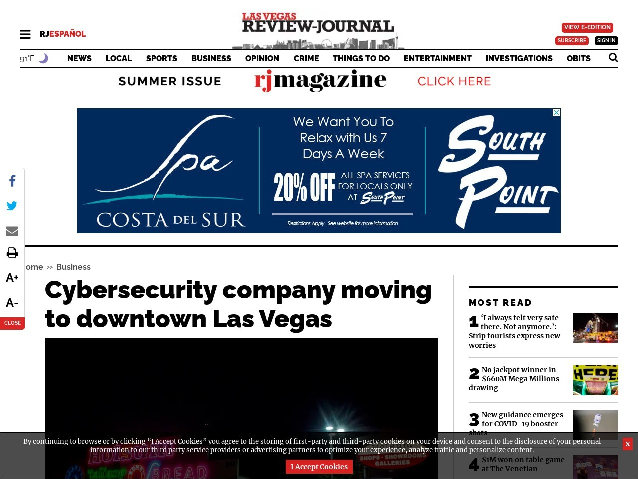 Cybersecurity company moving to downtown Las Vegas